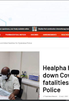 Healpha helps shoot down Covid linked fatalities for Hyderabad Police
